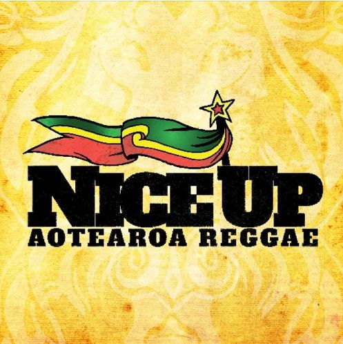 niceup aotearoa reggae logo with big words and a green yellow and red flag and star